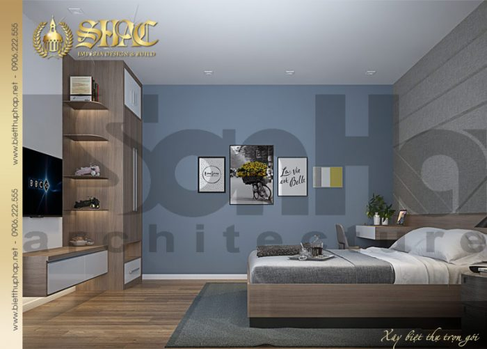 Thiết kế nội thất phòng ngủ sang trọng bố trí đẹp mắt của biệt thự tân cổ điển