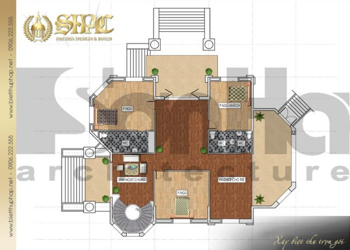 Bố trí công năng tầng 2 biệt thự phố 3 tầng kiến trúc cổ điển pháp đẹp tại Đồng Nai