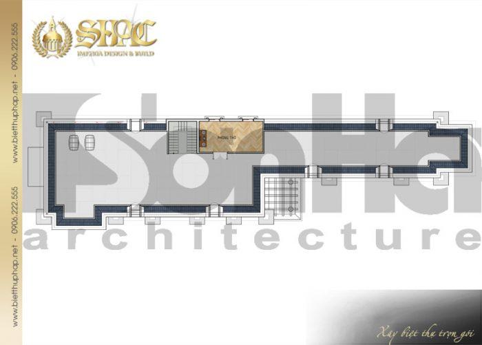 Bản vẽ mặt bằng công năng tầng áp mái biệt thự phong cách tân cổ điển đẹp và sang trọng