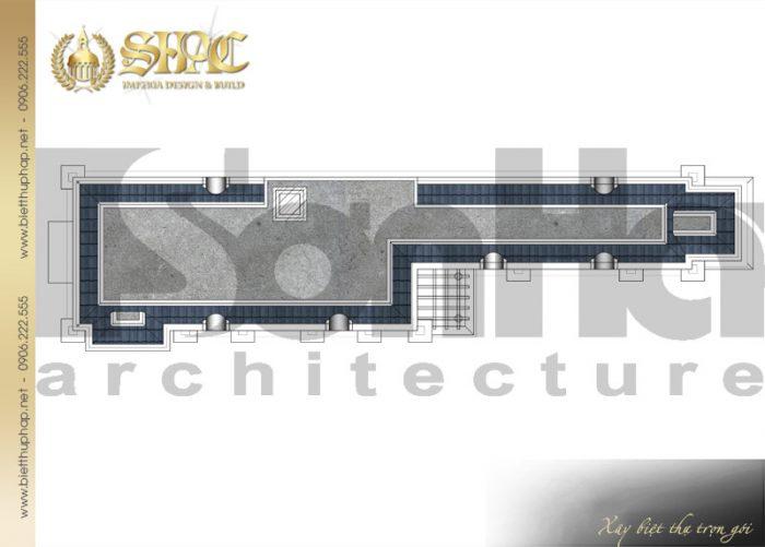 Bản vẽ mặt bằng công năng tầng mái biệt thự kiến trúc tân cổ điển đẹp tại Cà Mau
