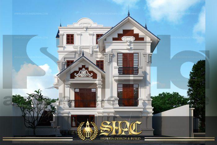 BÌA thiết kế kiến trúc mặt tiền biệt thự tân cổ điển tại quảng ninh sh btcd 0031