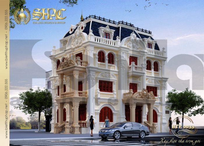Mẫu thiết kế biệt thự cổ điển kiểu pháp 4 tầng diện tích 9,5m x 13,9m tại Quảng Ninh