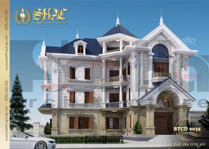 Mẫu thiết kế biệt thự 3 tầng tân cổ điển châu Âu tại Hà Nội diện tích 9mx22m
