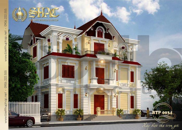 Mẫu thiết kế biệt thự kiểu pháp 3 tầng mái dốc diện tích 130m2 tại Quảng Ninh
