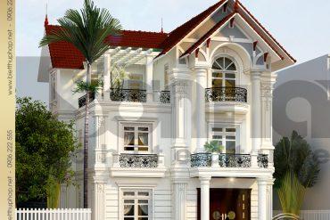 1 Thiết kế kiến trúc mặt tiền biệt thự tân cổ điển pháp tại hưng yên sh btcd 0037