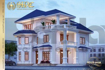 1 Thiết kế kiến trúc mặt tiền biệt thự tân cổ điển pháp tại quảng bình sh btcd 0038