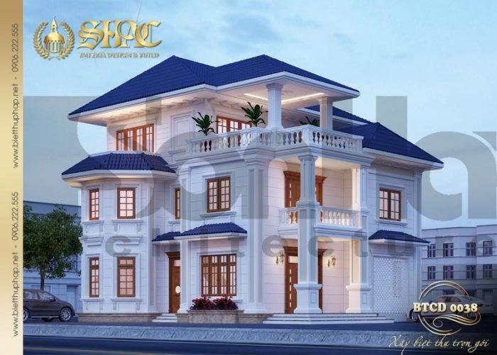 Mẫu biệt thự 3 tầng tân cổ điển được thiết kế đẹp với 3 phòng ngủ hợp phong thủy