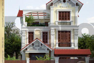 1 Thiết kế kiến trúc mặt tiền biệt thự tân cổ điển tại quảng ninh sh btcd 0034