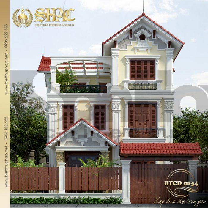 Phương án thiết kế biệt thự tân cổ điển pháp mái dốc diện tích 9x26m tại Quảng Ninh