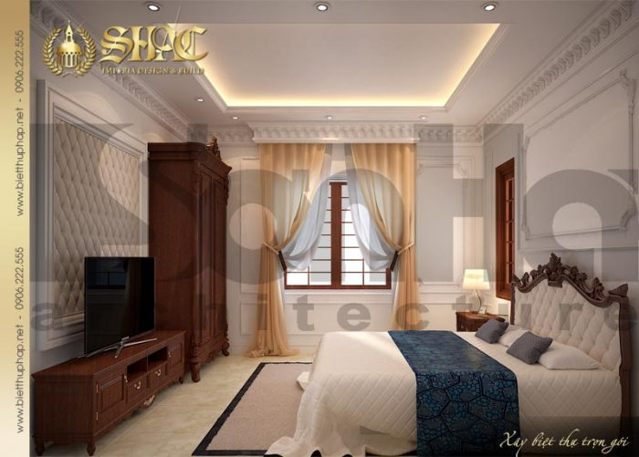 Giản dị mà ấm cúng với thiết kế nội thất phòng ngủ biệt thự kiểu pháp đẹp
