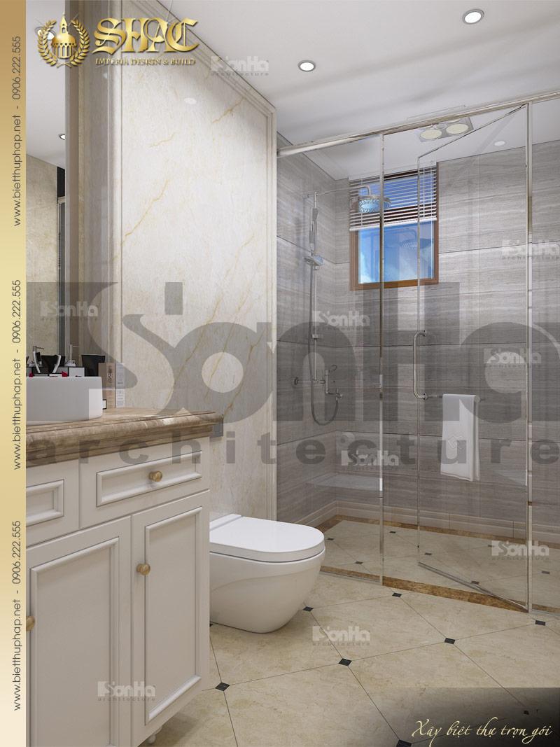 Phương án thiết kế nội thất phòng tắm và vệ sinh ngôi biệt thự 3 tầng 1 tum tân cổ điển