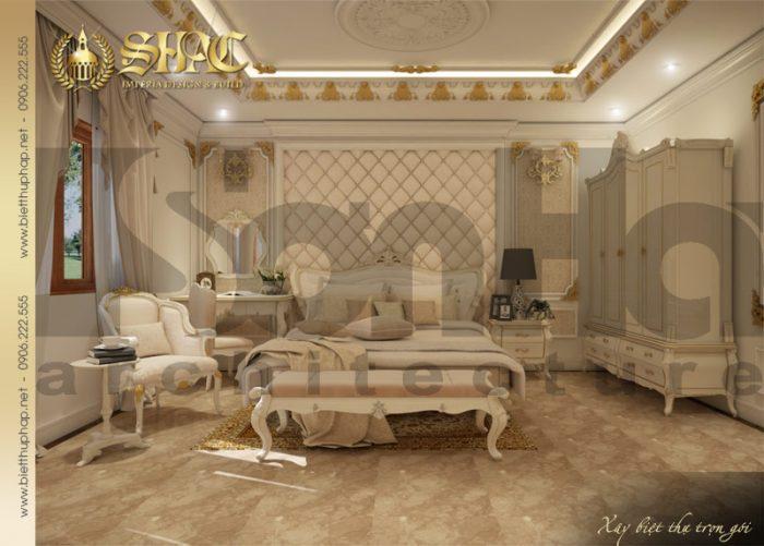 Nét đẹp trong thiết kế nội thất phòng ngủ phong cách hoàng gia của biệt thự pháp cổ