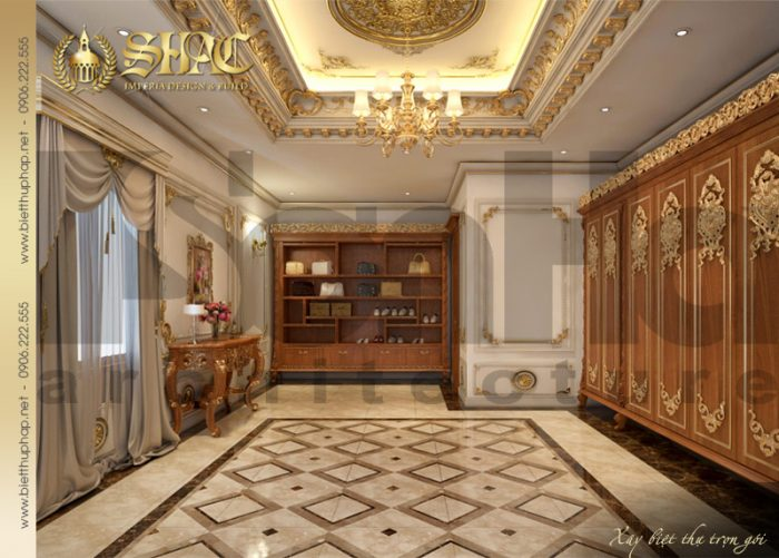 Mẫu nội thất phòng thay đồ biệt thự pháp cổ điển được yêu thích và đánh giá cao