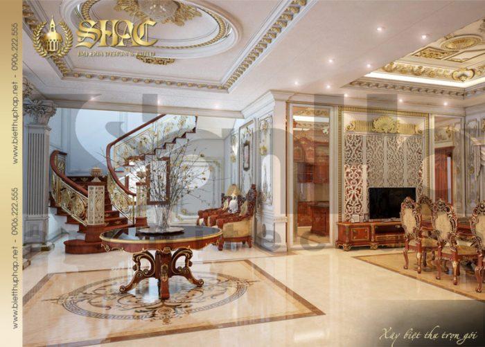 Còn đây là phương án thiết kế nội thất sảnh biệt thự pháp cổ điển tại Quảng Ninh