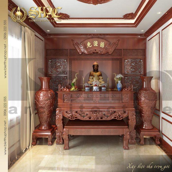 Mẫu thiết kế nội thất phòng thờ tôn nghiêm của ngôi biệt thự 3 tầng kiểu pháp