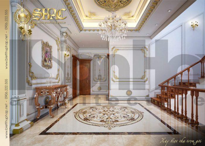 Thiết kế sảnh thang của ngôi biệt thự 4 tầng sang trọng với hoa văn phảo chỉ đẹp