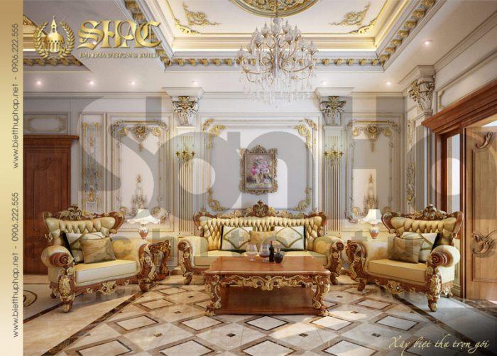 Phương án thiết kế nội thất phòng sinh hoạt chung ấn tượng của biệt thự pháp cổ điển
