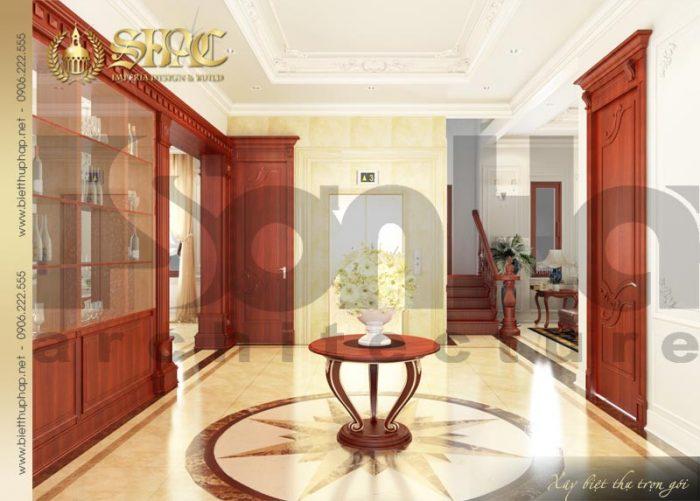Phương án thiết kế sảnh nội thất biệt thự 3 tầng kiểu pháp sang trọng từng tiểu tiết