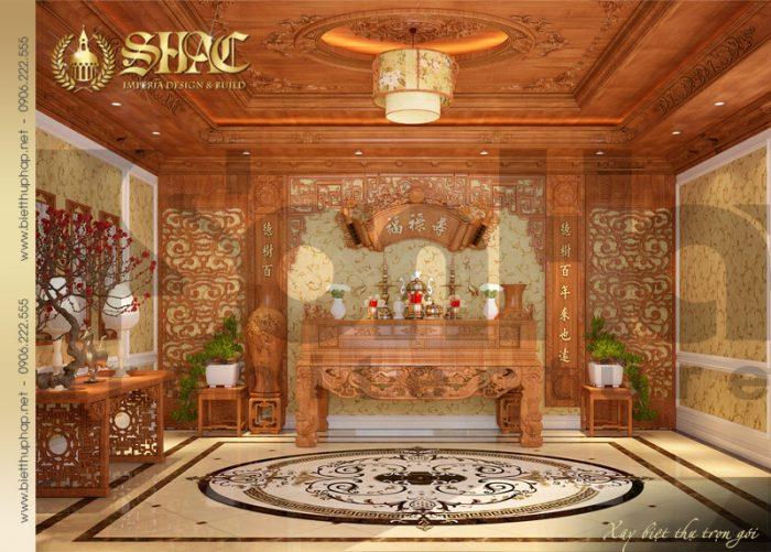 Mẫu thiết kế nội thất phòng thờ quy mô của ngôi biệt thự 4 tầng cổ điển pháp