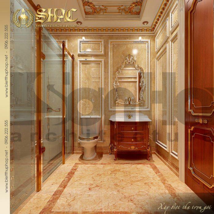 Phương án thiết kế nội thất phòng tắm và vệ sinh xa hoa của ngôi biệt thự pháp cổ