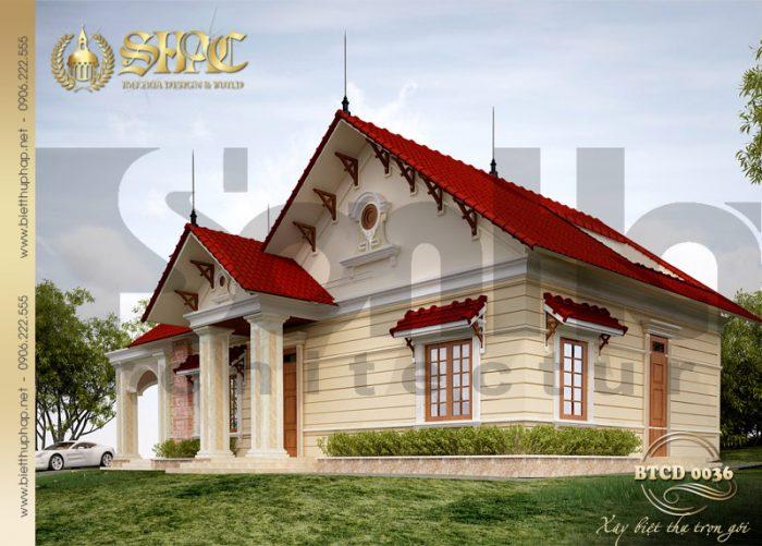 Kiến trúc của ngôi biệt thự 1 tầng phong cách tân cổ điển cuốn hút mặc dù đơn giản