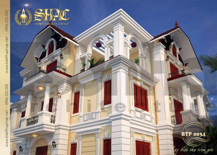 Mẫu thiết kế kiến trúc biệt thự 3 tầng kiểu pháp được yêu thích và đánh giá cao