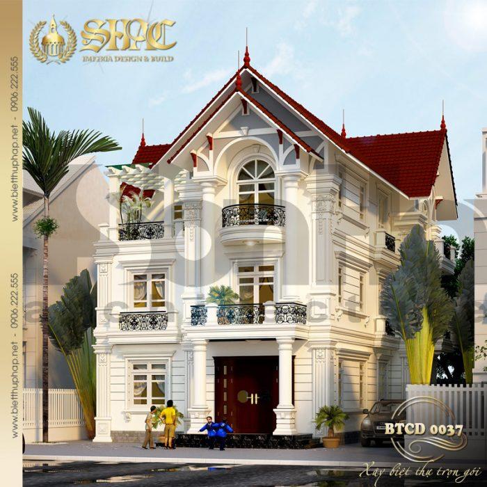 Sang trọng và tinh tế là đặc điểm của kiến trúc ngôi biệt thự 3 tầng tân cổ điển này