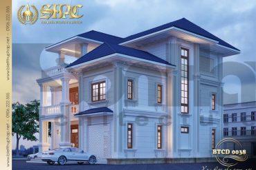 2 Mẫu kiến trúc biệt thự tân cổ điển đẹp tại quảng bình sh btcd 0038