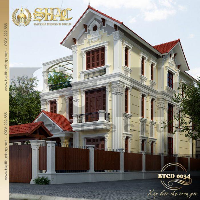 Kiến trúc mặt tiền đẹp của ngôi biệt thự 3 tầng phong cách tân cổ điển pháp đẹp
