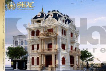 2 Mẫu thiết kế kiến trúc biệt thự pháp cổ tại quảng ninh sh btp 0033