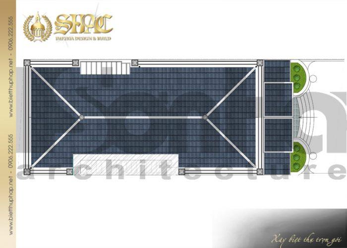 Bản vẽ công năng mái của ngôi biệt thự 1 tầng 3 phòng ngủ phong cách tân cổ điển