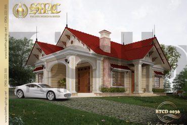 3 Thiết kế kiến trúc biệt thự mái thái 1 tầng tại hải phòng sh btcd 0036