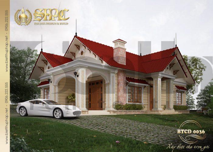 Từ mọi góc đặt mắt kiến trúc của ngôi biệt thự 1 tầng đều đẹp mắt và tinh tế