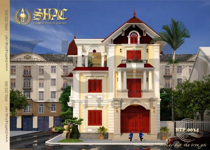 Kiến trúc của ngôi biệt thự pháp 3 tầng được tạo nên từ những chi tiết có duyên