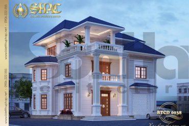 3 Thiết kế kiến trúc mặt tiền biệt thự tân cổ điển đẹp tại quảng bình sh btcd 0038