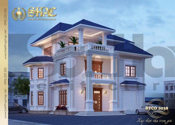 Kiến trúc biệt thự 3 tầng phong cách tân cổ điển đẹp từ mọi góc đặt mắt bất kỳ