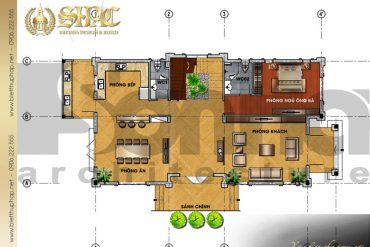 4 Mặt bằng công năng tầng 1 biệt thự tân cổ điển pháp tại quảng ninh sh btcd 0034