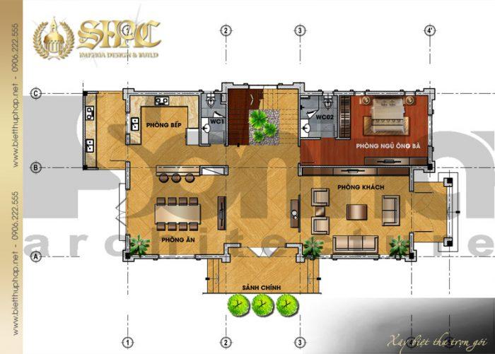 Bản vẽ mặt bằng công năng tầng 1 biệt thự tân cổ điển pháp 3 tầng diện tích 9x26m