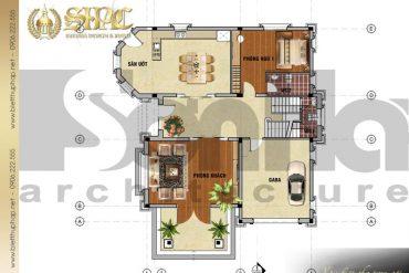 4 Mặt bằng công năng tầng 1 biệt thự tân cổ điển tại quảng bình sh btcd 0038