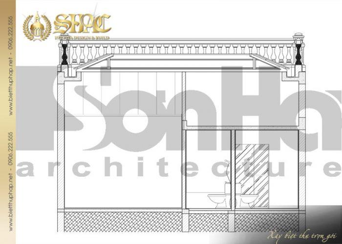 Bản vẽ mặt cắt 1-1 của ngôi biệt thự 1 tầng phong cách tân cổ điển tại Hà Nội