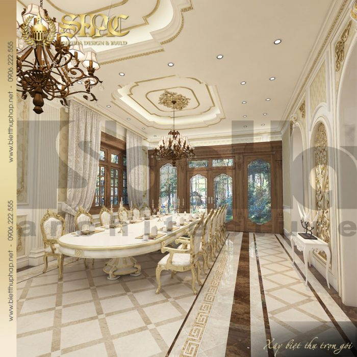 Thiết kế nội thất phòng ăn ngôi biệt thự 3 tầng phong cách cổ điển châu Âu