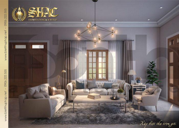 Thiết kế nội thất phòng khách biệt thự tân cổ điển 1 tầng mái thái ấn tượng với màu trầm