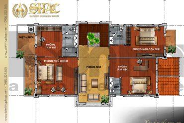 5 Mặt bằng công năng tầng 2 biệt thự tân cổ điển đẹp tại quảng ninh sh btcd 0035
