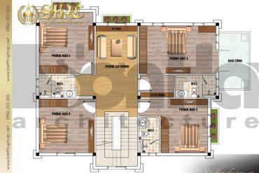 5 Mặt bằng công năng tầng 2 biệt thự tân cổ điển pháp tại hưng yên sh btcd 0037