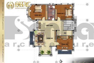 5 Mặt bằng công năng tầng 2 biệt thự tân cổ điển tại quảng bình sh btcd 0038
