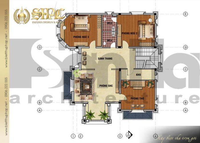Bản vẽ mặt bằng công năng tầng 2 của ngôi biệt thự 3 tầng kiến trúc tân cổ điển