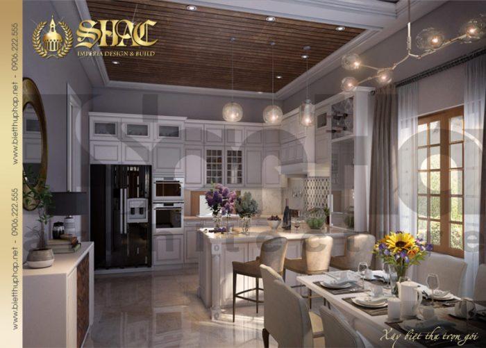Mãn nhãn với thiết kế nội thất phòng bếp ăn ngôi biệt thự 1 tầng tân cổ điển đẹp