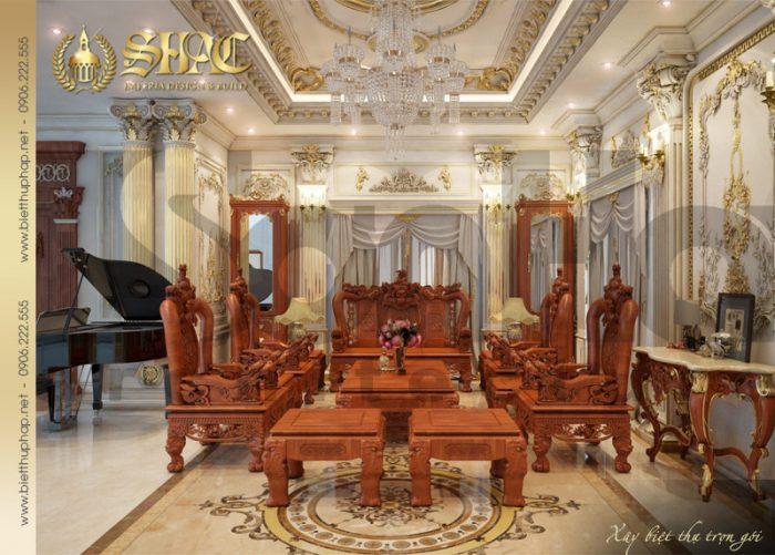 Thiết kế nội thất phòng khách biệt thự pháp cổ điển tại Quảng Ninh sang trọng