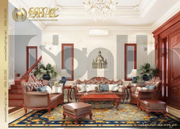 Mẫu thiết kế nội thất phòng khách biệt thự kiểu pháp bố trí đẹp tại Quảng Ninh