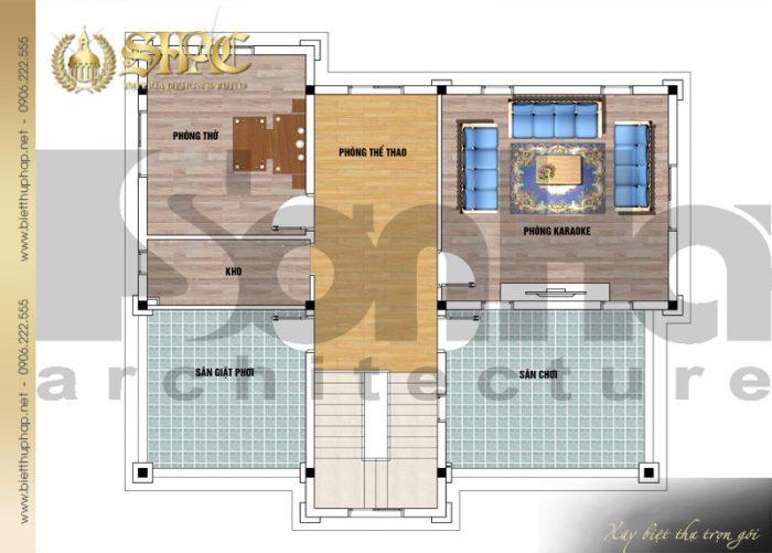 Bản vẽ công năng tầng 3 biệt thự 3 tầng tân cổ điển diện tích 146m2 tại Hưng Yên